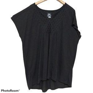 *3/$20* NWOT JMS Plus-Size Slub Crochet Bib Tunic